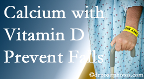 Calcium and vitamin D supplementation may be suggested to Williamson chiropractic patients who are at risk of falling.