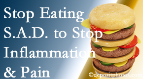 Williamson chiropractic patients do well to avoid the S.A.D. diet to reduce inflammation and pain.