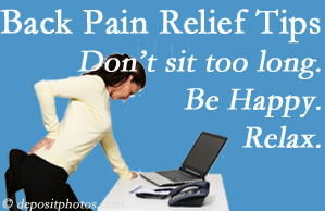 Apple Country Chiropractic reminds you to not sit too long to keep back pain at bay!