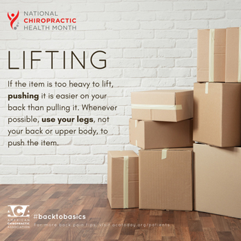 Apple Country Chiropractic advises lifting with your legs.