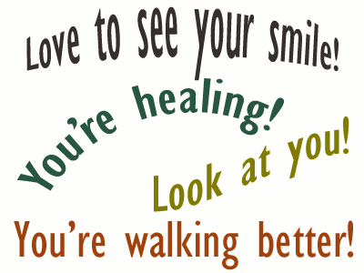 Use positive words to support your Williamson loved one as he/she gets chiropractic care for relief.